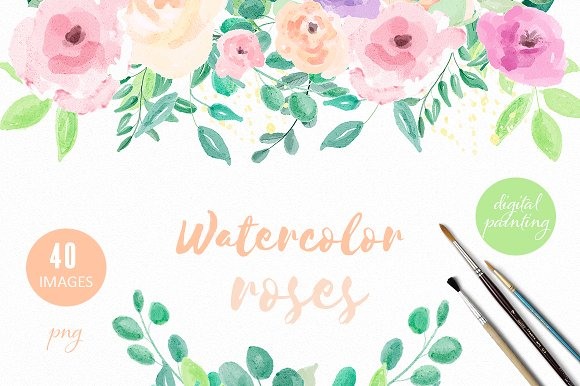 Set Of Watercolor Roses And Leafs