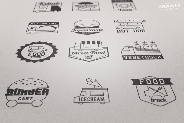 Food Truck Logo Vector Badges Set