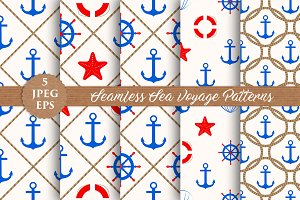SALE SEA VOYAGE seamless patterns