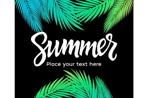 Summer - vector leaflet template with brush lettering