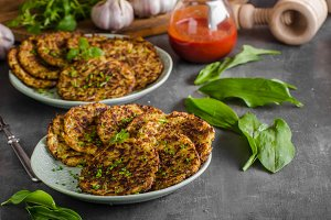 Potato pancakes fried with garlic