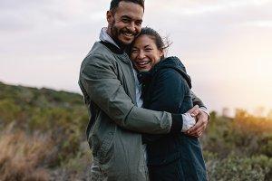 Romantic couple hugging