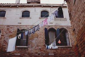 Laundry hanging outside