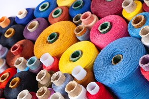 close up of spools of thread