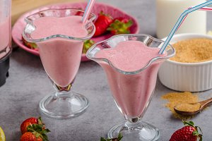 Milkshake strawberries drink