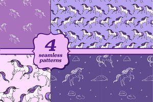 Four unicorn patterns