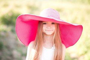 Funny kid girl in hat