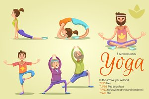 Yoga Cartoon Scenes