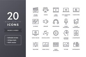 Music and Video Icons