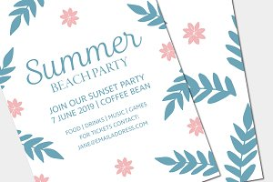 Floral Party Poster Invite Mockup