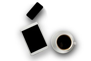 White tablet With coffee cup