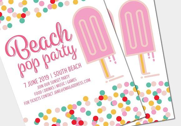 Party Invite Poster Ice Cream Mockup