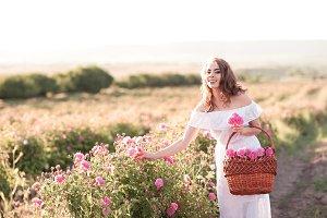 Girl in rose field