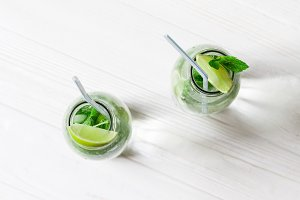 Glass jars with Mojito cocktail