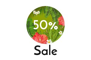 Sale banner with tropical flowers and plants