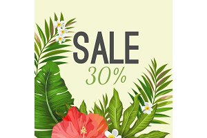 Sale poster on background with tropical leaves and flowers