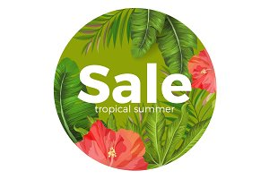 Tropical summer sale promotional poster with wonderful greenery