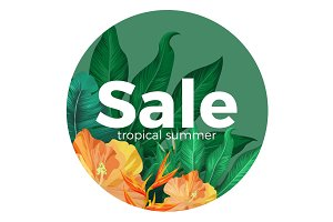 Sale tropical summer advertisement with gorgeous flowers in circle