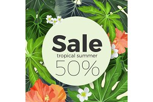 Summer sale on circle, background with tropical plants