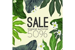 Tropical summer sale banner with flowers and leaves