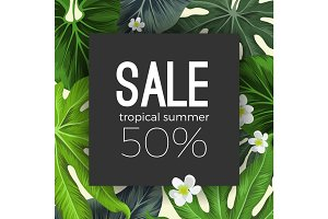Special summer sale card with exotic plants on background
