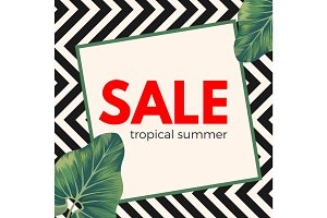 Sale tropical summer poster on ornamental zigzag background