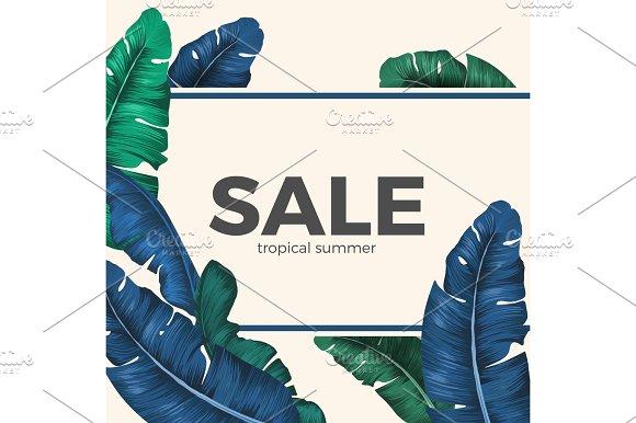 Sale Inscription Hidden In Palm Tree Leaves Seasonal Promotion
