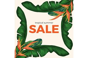 Tropical summer sale promo poster with rainforest plants