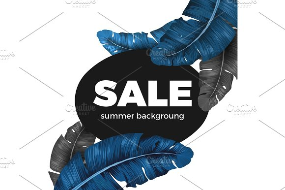 Sale Summer Background Text Written On Black Background With Leaves