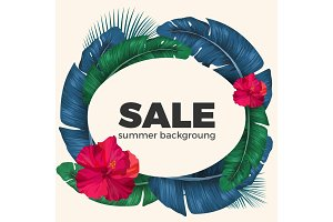 Summer sale poster with palm leaves circle and Hibiscus flowers
