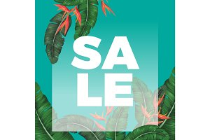 Thick sale sign on promotional banner with exotic greenery