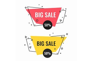 Big sale bright isolated promotional emblems set