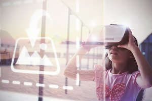 Girl Using VR Headset Mockup