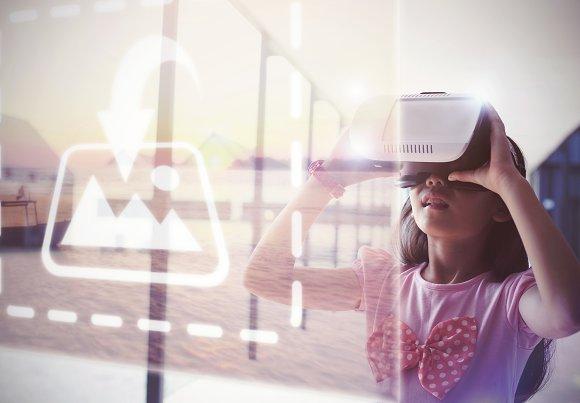 Girl Using VR Headset Mockup