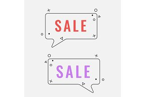 Simple sale square speech bubbles with geometric signs vector illustration