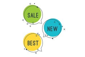 Simple best new sale speech bubbles with geometric signs vector