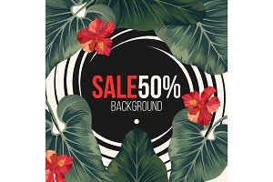 50 percent sale background with exotic rainforest greenery