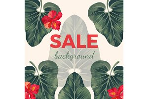 Sale background with exotic tropical leaves and red flowers