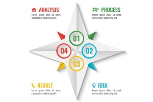 Business infographic scheme in star shape on white