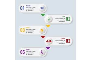 Process business chart with five steps in long shape