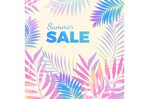 Summer sale bright poster with palm leaves on background