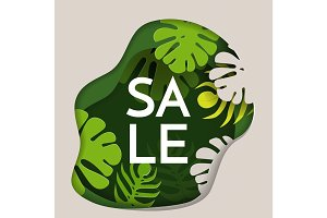 Sale promotional poster with thick rainforest inside uneven shape