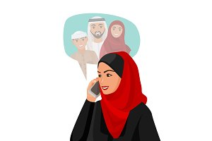 Muslim woman in hijab talking over phone with family