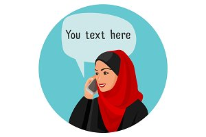 Arabian woman speaking over smartphone with space for conversation