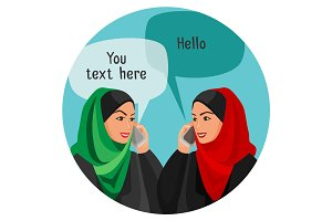 Arabian women making conversation over phones with space for text