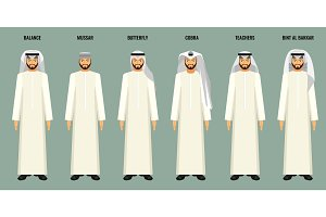 Arabian men in headscarves of various types vector poster