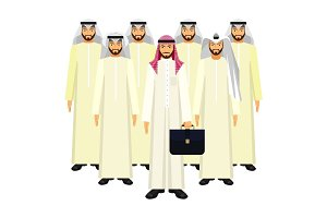 Group of Arabian business people in good mood on white