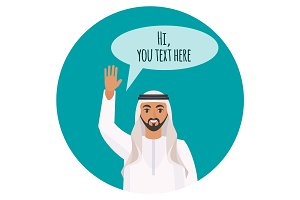 Arabi man with beard says hi and waves hand