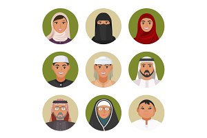 Arabic men and women of all ages portraits in circles