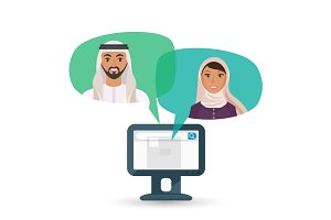 Arabic man and woman communicate by Internet illustration
